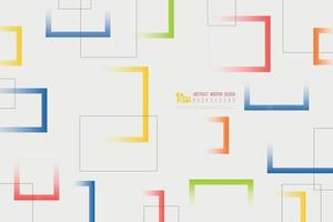 Abstract white background with colorful square line geometric pattern design. illustration vector eps10