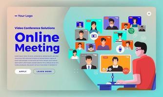 videoconferencia de concepto de diseño plano de ilustraciones. formulario de trabajo de reunión en línea desde casa. llamada y video en vivo. ilustrar el vector. vector