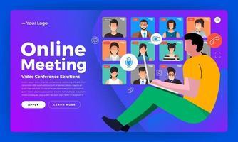 videoconferencia de concepto de diseño plano de ilustraciones. trabajo de reunión en línea desde casa. llamada y video en vivo. ilustrar el vector. vector
