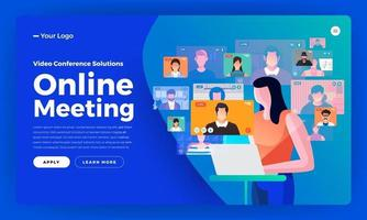 Illustrations flat design concept video conference. online meeting work from home. Call and live video. Vector illustrate.
