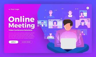 Illustrations flat design concept video conference. online meeting work from home. vector