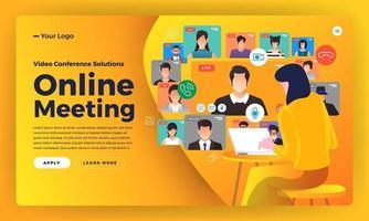 videoconferencia de concepto de diseño plano de ilustraciones. trabajo de reunión en línea desde casa. vector