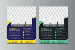 Travel agency flyer design template vector