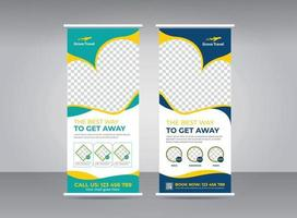 Travel and tourism agency roll-up banner design template set vector