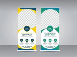 Travel and tourism agency roll-up banner design template vector