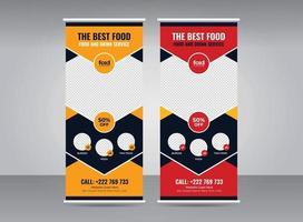 Food roll-up banner design template set vector
