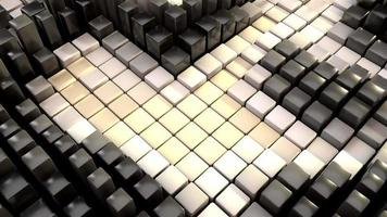 Quirky black white 3D cubes animation with motion blur