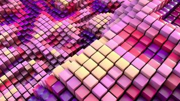 Quirky positive 3D cubes animation with motion blur