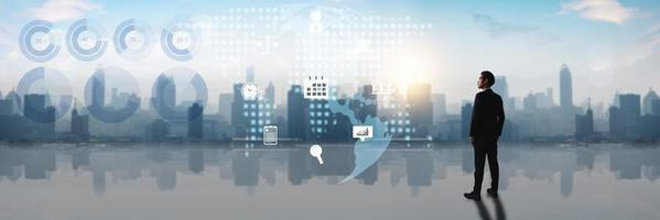 Global technology and business concept
