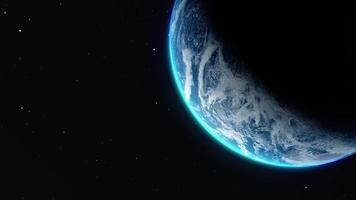 visão próxima da Terra giratória video