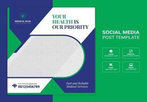 banner de publicación de redes sociales médicas y de atención médica vector