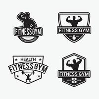 conjunto de plantillas de diseño de vector de insignia de fitness