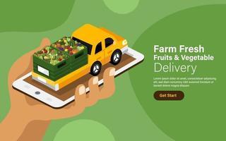 concepto de ilustraciones vectoriales servicio de entrega de frutas y verduras en línea.