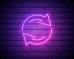 Glowing neon Refresh icon isolated on brick wall background. Reload symbol. Rotation arrows in a circle sign. Vector Illustration