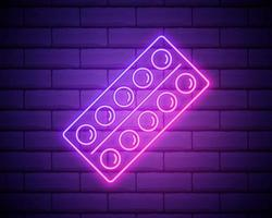 Glowing neon line Pills in blister pack icon isolated on brick wall background. Medical drug package for tablet vitamin, antibiotic, aspirin. Vector Illustration