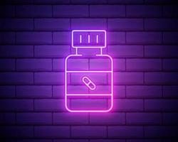 Icono de botella de medicina de línea de neón brillante aislado sobre fondo de pared de ladrillo. signo de píldora de botella. diseño de farmacia. ilustración vectorial vector