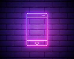 teléfono móvil, letrero de neón de teléfono inteligente. símbolo brillante brillante sobre un fondo de pared de ladrillo. icono de estilo neón vector