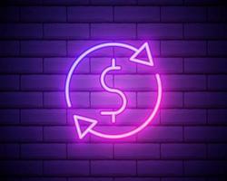 Cash Back Neon Logo Vector. Cash Back neon sign, design template, modern trend design, casino neon signboard, night bright advertising, light banner, light art. Vector illustration isolated on brick wall