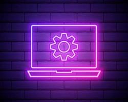 Glowing neon line Laptop and gear icon isolated on brick wall background. Laptop service concept. Adjusting app, setting options, maintenance, repair, fixing. Vector Illustration