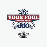 Plantilla de vector de diseño de logotipo de piscina de bola de billar