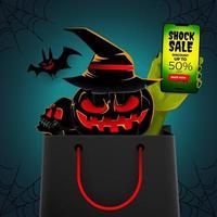 Halloween sale banner design template vector