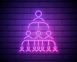 Staff management neon light icon. Teamwork. Professional hierarchy. Organisation. Leadership. Delegation. Glowing sign . Vector illustration isolated on brick wall.