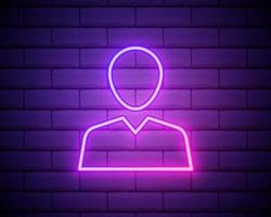 avatar, profile pink neon icon .Brick wall background. Pink neon vector icon.