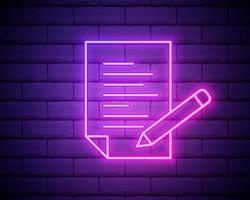 pencil, list, paper outline icon in neon style. elements of education illustration line icon. signs, symbols can be used for web, logo, mobile app, UI, UX isolated on brick wall vector
