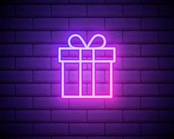 Present neon light icon. Gift store glowing sign. Vector isolated illustration isolated on brick wall backgorund.