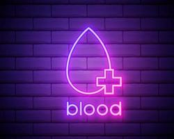 blood neon icon. Elements of Blood donation set. Simple icon for websites, web design, mobile app, info graphics isolated on brick wall vector
