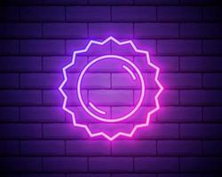 Sun pink glowing neon ui ux icon. Glowing sign logo vector isolated on brick wall backogrund