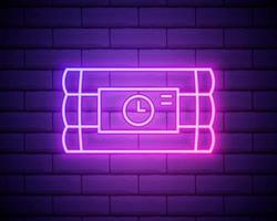 palo de bomba de dinamita de neón brillante e icono de reloj temporizador aislado sobre fondo de pared de ladrillo. bomba de tiempo - concepto de peligro de explosión. ilustración vectorial vector