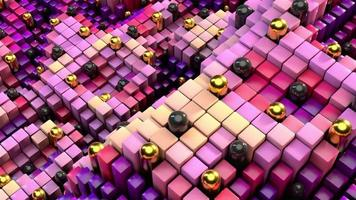 Quirky positive 3D cubes wave animation with motion blur