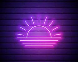 Sunset neon sign. Neon sign, bright signboard, light banner. Vector icon isolated on brick wall background.