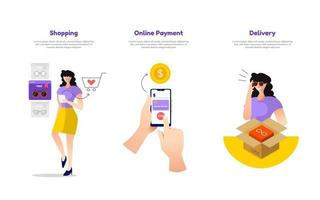 Illustration of online shopping, mobile payment, and delivery vector