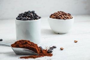 Dark and medium coffee beans