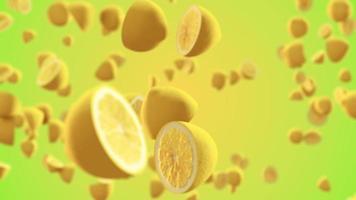 limón fresco volando en cámara lenta hacia la cámara video