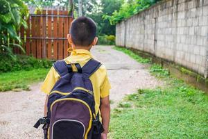 Boy in a yellow shirt with a backpack