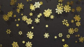 Fondo de movimiento de copos de nieve dorados con partículas, luces suaves y sombras