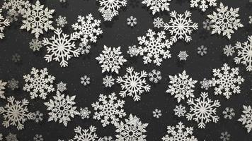 Elegante fondo giratorio de copos de nieve plateados con partículas, luces suaves y sombras