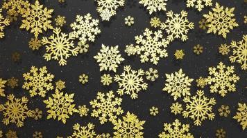 Elegante fondo giratorio de copos de nieve dorados con partículas, luces suaves y sombras