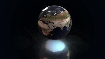 globo girando em loop flutuante sobre piso reflexivo