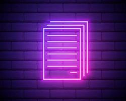 copiar archivos icono de neón. línea delgada simple, vector de contorno de web, iconos minimalistas para ui y ux, sitio web o aplicación móvil aislada en la pared de ladrillo.
