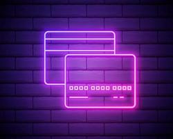 Credit card pink glowing neon ui ux icon. Glowing sign logo vector isolated on brick wall