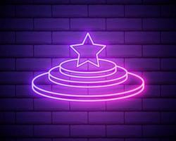 podio de ganadores deportivos. icono de estilo plano. icono de neón rosa aislado en la pared de ladrillo. iluminación borrosa. ilustración. vector