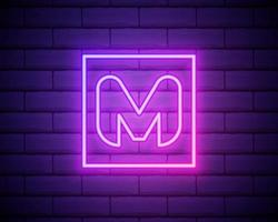 Neon light M letter line. Colored tube font for events posters, lacing emblem, nightlife banner and futuristic identity. Typography design. Glowing neon logo isolated on brick wall vector