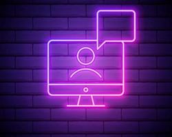 laptop outline pink neon icon. Elements of friendship line icon. Signs, symbols and vectors can be used for web, logo, mobile app, UI, UX . Online webinar icon . E-learning symbol.