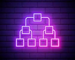 Glowing neon Referral marketing icon isolated on brick wall background. Network marketing, business partnership, referral program strategy. Vector Illustration