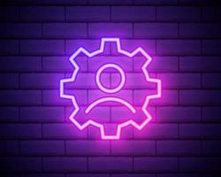 Glowing neon line Human with gear inside icon isolated on brick wall background. Artificial intelligence. Thinking brain sign. Symbol work of brain. Vector Illustration