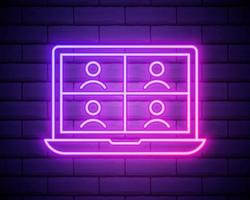 Neon online education icon. Glowing neon webinar sign, digital study in vivid colors. Video course, distance learning, teaching platform. Icon set, sign, symbol for UI. Vector illustration